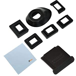 GTMax Universal Eyecup Eye Cup Eyepiece with 5 Adapters + Hot Shoe Cover + Cleaning Cloth for Canon Nikon and Pentax SLR Digital Camera