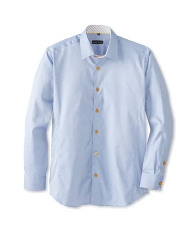 Jared Lang Men's Solid Long Sleeve Shirt with Pattern Detail