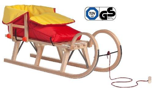 Impag® Hörnerschlitten mit Zuggurt und Lehne Rot inkl. Fußsack rot / gelb 115 cm lang
