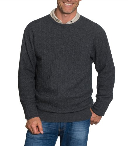 Mens Cashmere & Cotton Cable Crew Neck Jumper Charcoal Small