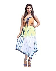 Classic Orange Dress Rayon Crepe Tie Dye Abstract Large For Ladies By Rajrang