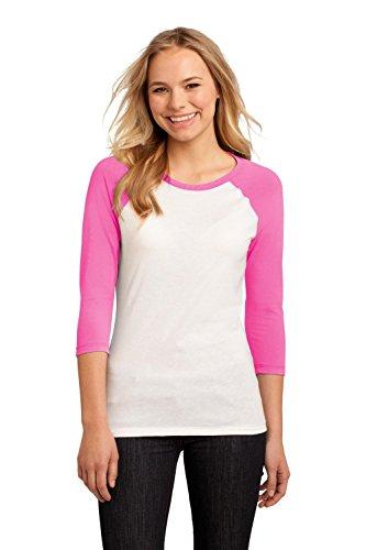 Juniors 50/50 3/4-Sleeve Raglan Tee - True Pink/White - X-Large