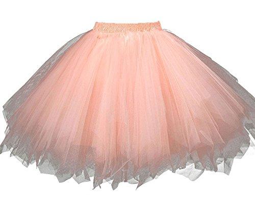 TPTfashion Women's Maxi Petticoat Skirts Mini Elastic Tulle Costume Dance Tutu Orange-18 (Dance Worship Costumes)