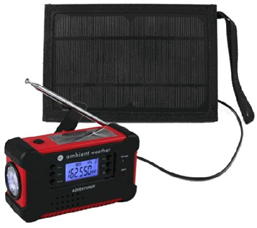 Ambient Weather Wr-112-Solarbag Emergency Solar Hand Crank Am/Fm/Noaa Weather Radio, Flashlight, Smart Phone Charger, Weather Alert, Siren And Solar Bag Kit