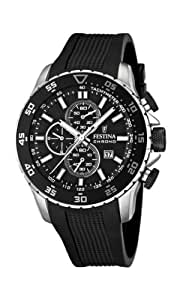 Festina Men's Quartz Watch with Black Dial Chronograph Display and Black PU Strap F16642/3