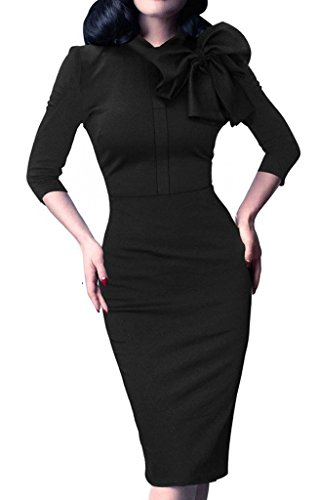 Donsane Women's Celebrity Vintage Bowknot Party Cocktail Stretch Bodycon Pencil Dress (L, Black)