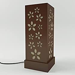 DecorNation Floral Lamp Shade Korean Style - Brown Bedside Lamp