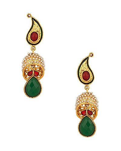 Sj Pearls Gold Plated Earrings With Green Gemstones (Yellow)