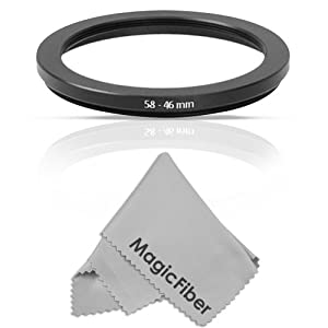 Goja 58-46MM Step-Down Adapter Ring (58MM Lens to 46MM Accessory) + MagicFiber Microfiber Lens Cleaning Cloth