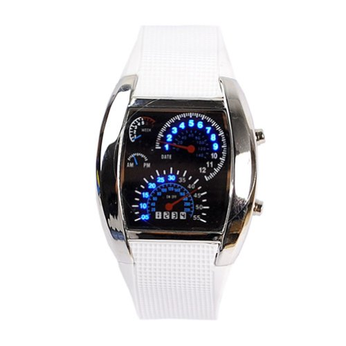 Eeleva Rpm Turbo Blue Flash Led Watch Brand New Gift Sports Car Meter Dial Men White