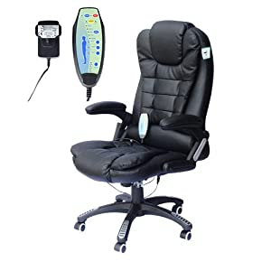 Homcom Deluxe Reclining Faux Leather Office Computer Chair 6 Point Massage High Back Desk Work Swivel Chair Black       review and more information