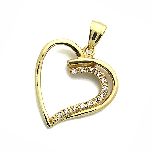 14K Yellow Gold Cz Simulated Diamond Open Heart Pendants Charms For Children & Women, Pendant Length: 1 2/8 Inches