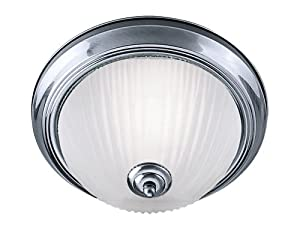Bathroom Flush Ceiling Light Satin Silver with Opaque Ribbed Glass, 4042 by Searchlight