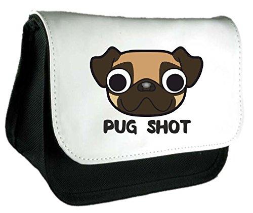 Cute Pugs Face Carlino Shot Tazza parodia Dog Lover persona divertente animali a tema Frizione Borsa o Astuccio Misura unica nero