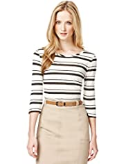 Autograph Slash Neck Multi-Striped Top with Linen