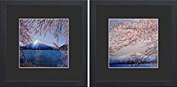 King Silk Art 100% Handmade Embroidery Japanese Cherry Blossoms Over Mount Fuji Forest Chinese Wildlife Landscape Painting Gifts Oriental Asian Wall Art Decoration Artwork Hanging Picture Gallery 37082BF+37110BF
