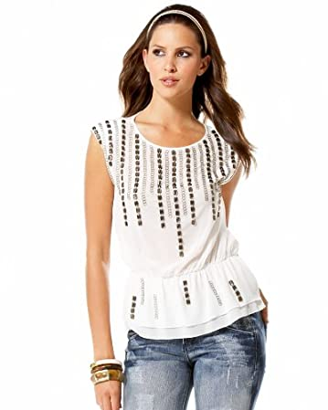 bebe Jeweled Linked Silky Top :  beads shoulders elastic white