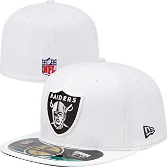 NFL Mens Oakland Raiders On Field 5950 White Cap By New Era by New Era