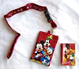 Red Mickey Lanyard with Bonus Zipper Wallet and Matching Pencil and Note Pad
