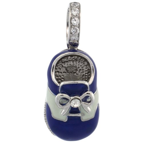 Sterling Silver Blue &#038; White Enamel Baby Shoe Pendant w/ CZ Stones, 7/8 in. (23mm) tall