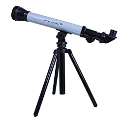 Highdas Kids Astronomy Spy and Learn Telescope Game Improved Lens Design Powerful And Easy To Use x60 x40 x20 Magnification Telescope Set GreyWhite