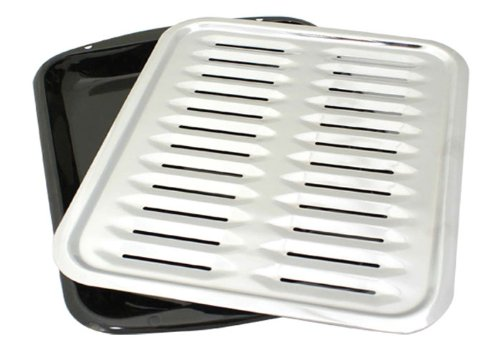 Porcelain Broiler Pan with Chrome Grill via Amazon