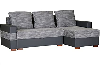 APOLLO large grey and black fabric and faux leather corner sofa bed couch with pillows sleeping area storage living room office furniture sofas
