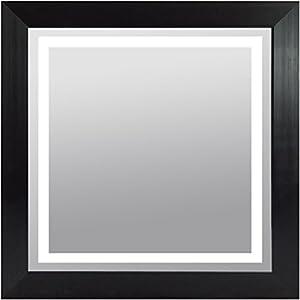 wood frame lighted vanity wall mirror led square black finish led 30x30 beauty. Black Bedroom Furniture Sets. Home Design Ideas
