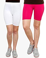 Goodtry Women's Cycling Shorts Pack of 2 Pink-White