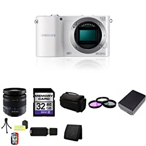Samsung NX1100 Smart Wi-Fi Digital Camera Body (White) + Samsung 18-55mm f/3.5-5.6 OIS Compact Zoom Lens (Black) + 32GB SDHC Class 10 Memory Card + 58mm 3 Piece Filter Kit + BP1030 Lithium Ion Replacement Battery + Deluxe Soft Large Camera and Video Case Bag + Mini Tripod Kit + USB SDHC Reader + Memory Wallet