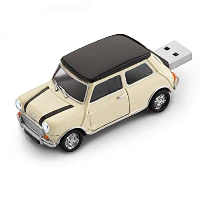 4GB CREAM STRIPED Mini Cooper USB Flash Memory Drive by JellyFlash