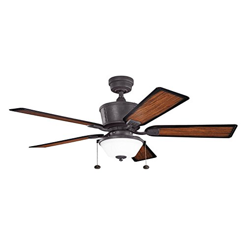Kichler Lighting 300162DBK Cates 52-Inch Wet Location Ceiling Fan, Distressed Black Finish with WalNut, Shadowed ABS Blades and Etched Glass (Wet Ceiling Fan compare prices)