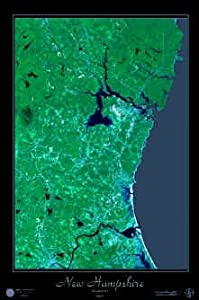 "Laminated New Hampshire Seacoast satellite map view photo print poster: 24""x36"" glossy"