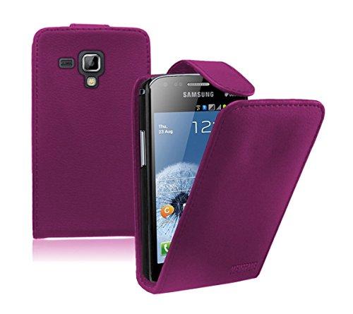 Membrane - Lila Klapptasche Hülle Samsung Galaxy Trend Plus (GT-S7580) - Flip Case Cover Schutzhülle