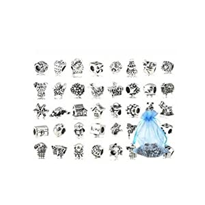 Bundle Monster 40 PC Antique Silver Plated Oxidized Metal Beads Charms Set Mix Lot - Compatible with Pandora Biagi Troll Chamilia Bracelets w/