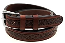 "American Made Orion Leather 1 1/8"" Rich Brown Bridle Leather Belt With Embossing And Double Loops Size 52"