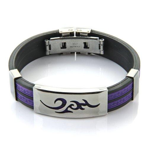 Purple Black Silicone Stainless Steel Bracelet Bangle Unisex