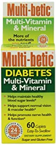 Multi-Betic Multi-Vitamin/Mineral/Antioxidant Tablets, Advanced Diabetic Formula, 60-Count Boxes (Pack of 2)