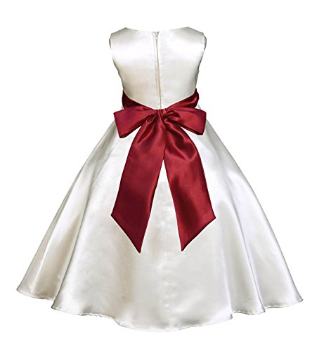 Wedding Pageant Ivory A-Line T-Length Flower Girl Dress 821S 4