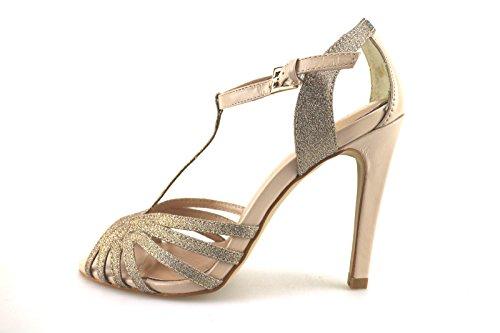 CAFE' NOIR sandali donna rosa pelle platino tessuto AG289 (38 EU)