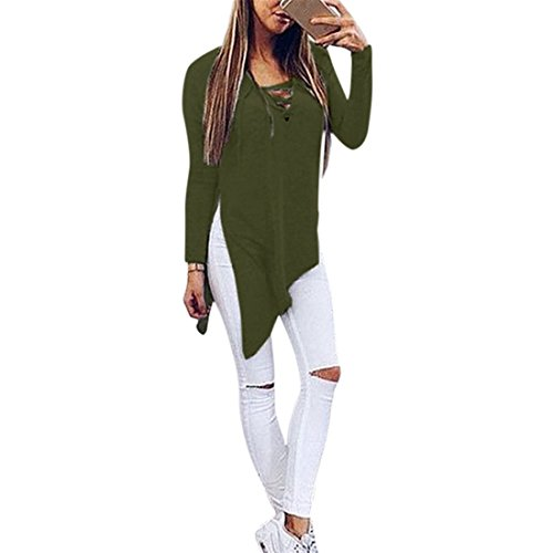 Xinantime Donna Basic Maniche lunghe Cappotto Jumper Tops Split Camicetta (S, verde)