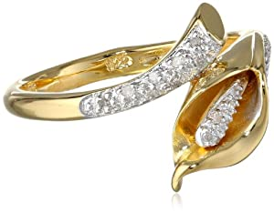 Yellow Gold Plated Sterling Silver Calla Lily Diamond Ring (0.06 cttw, I-J Color, I2-3 Clarity), Size 6