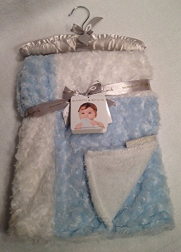 Blankets & Beyond Rosette Baby Blanket, Blue and White - 1