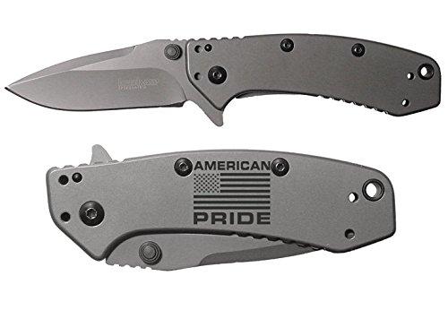 American Flag Pride V1 engraved Kershaw Cryo 1555TI Folding Speedsafe Pocket Knife by NDZ Performance