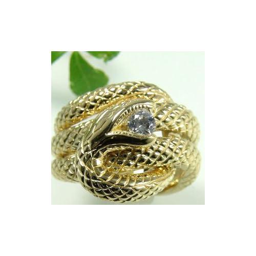 スネークリング指輪開運蛇リングシグニティーキュービックジルコニアイエローゴールドリング