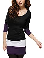 Allegra K Women Long Sleeve Color Block Tunic Tops Slim Fit T Shirt