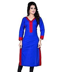 Shayona Creation Women's Blue & Red cotton Stitched Kurtis
