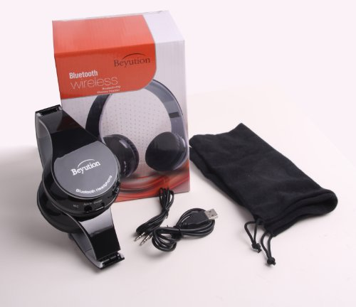 New Beyution@Bt512 Black Stereo Hi-Fi Bluetooth V3.0 Headphones With Fm Radio/ Micro Sd Card Read/ Clear Mic-Phone Blutooth Headphones (Black)