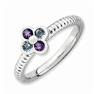 Sterling Silver Stackable Expressions Blue Topaz & Amethyst Flower Ring Size 5