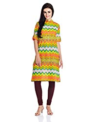 Vishudh Women's Straight Kurta (VNKU004490_Light Green_M)
